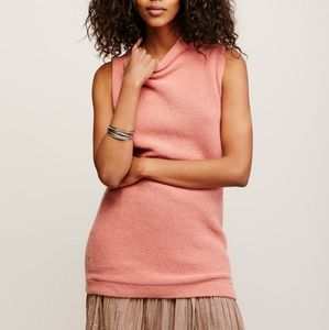 Free People Size XS Pink Ribbed Knit Tunic Top